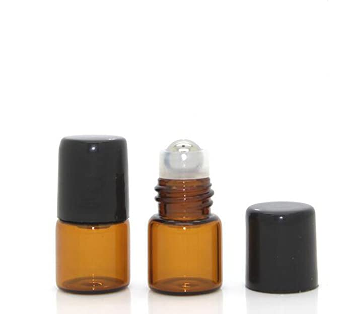 25 unidades de botellas de rodillo de aceite esencial de cristal Mini Tiny botella vacía para aromaterapia Perfume recargable botellas de cristal ámbar con ...