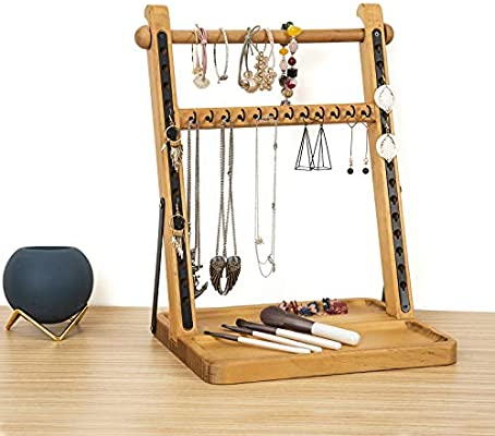 Amazon Com Soduku 2 Tier Jewelry Organizer Stand Modern Wood Jewelry Holder And Display Tabletop Jewelry Storage Rack For Necklaces Bracelets Earrings Natural Home Improvement