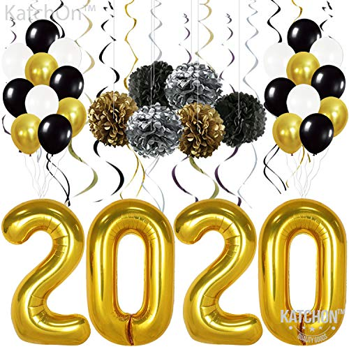 Graduation Party Items (New Years Eve Party Supplies - 2020 Balloons Gold, Pack of 49 | Gold Black Silver Hanging Party Swirls, Paper Pom Poms and Balloon | New Years Party Decorations |)