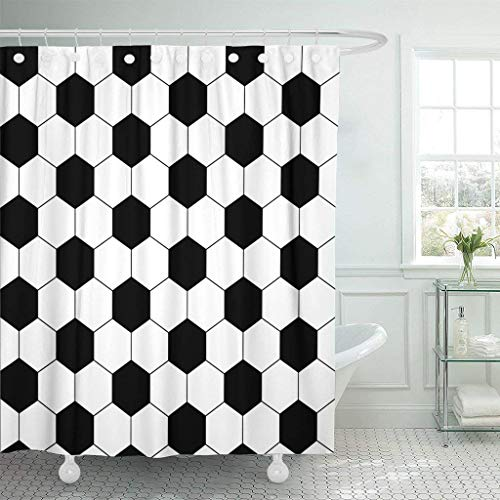 GETTOGET Pattern Black and White Hexagon Soccer Ball Football Geo Shower Curtain Bathroom Sets Hooks,Mildew Resistant Waterproof Polyester Curtain