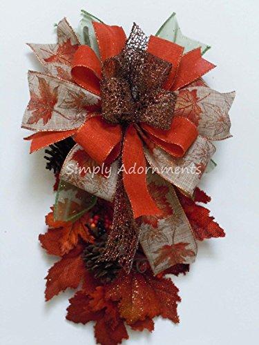 - Autumn Lantern Bow Thanksgiving Wreath Bow Maple Leaves Wedding Pew Bow Burnt Orange Fall leaves Bow Fall Wreath Bow Fall Gifts Bow