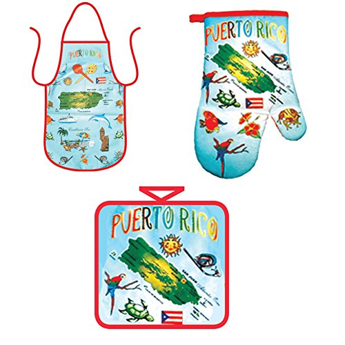 Puerto Rico Kitchen - Kitchen Cooking Set - Puerto Rico Souvenir Gift - Apron, Oven Mitt Pot Holder Novelty 3 Piece Combo