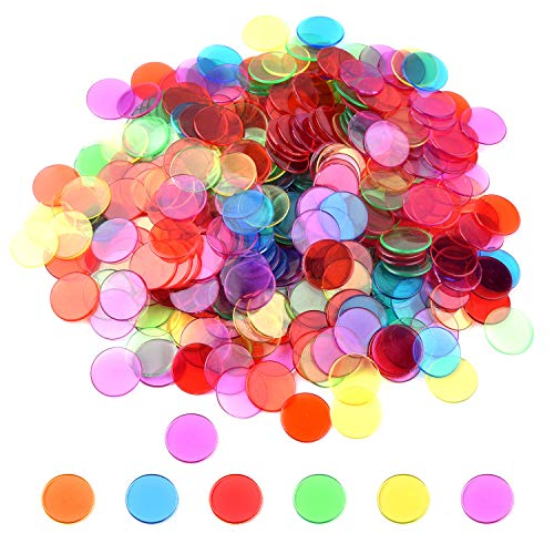 (Coopay 300 Pieces Transparent Color Counters Plastic Math Counters Game Counting Bingo Chips Plastic Markers)