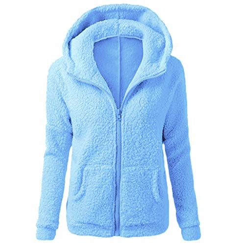 ZOMUSAR Womens Hooded Full Zip Up Sherpa Fleece Hoodie Jacket Cotton Coat (L, Blue)