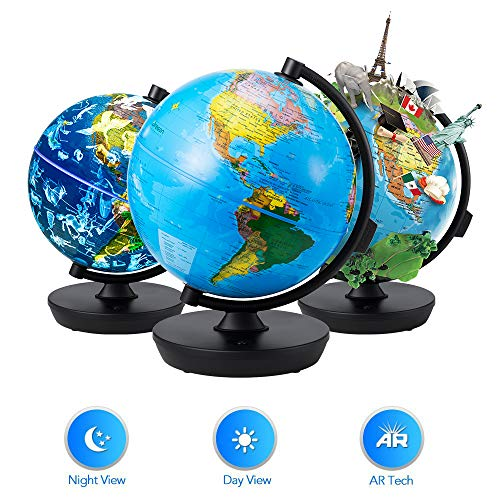 Globe 3 in 1 Illuminated Smart World Globe with Built-in Augmented Reality Technology, Earth by Day, Constellations by Night, AR App Experience, Adventure and Discovery, Educational Gift for Child (Oregon Scientific Globe Pen)