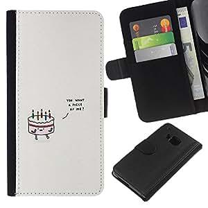Planetar® Modelo colorido cuero carpeta tirón caso cubierta piel Holster Funda protección HTC One M7 ( Cake Birthday Love Grey Minimalist Cute )