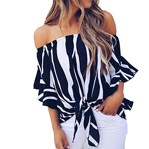 Black Casual Shirt (Women's Loose Striped 3/4 Bell Sleeve Off The Shoulder Front Tie Knot T Casual Shirt Tops Blouse (Black, S))