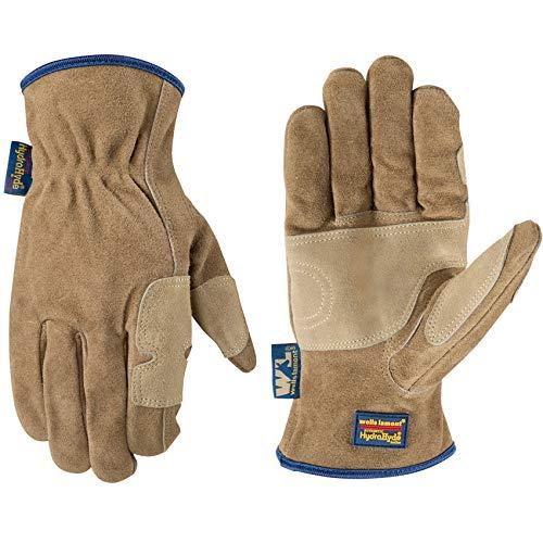 Men's Heavy Duty Genuine Leather Work Gloves, Water-Resistant HydraHyde, Medium (Wells Lamont 1019M)