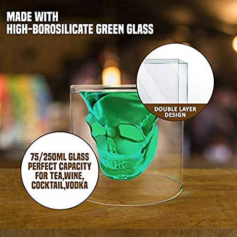 Eco-Friendly Crystal Whiskey Glass for Halloween Party,Bachelors Party and Other Themed Parties|Double Layer Design…
