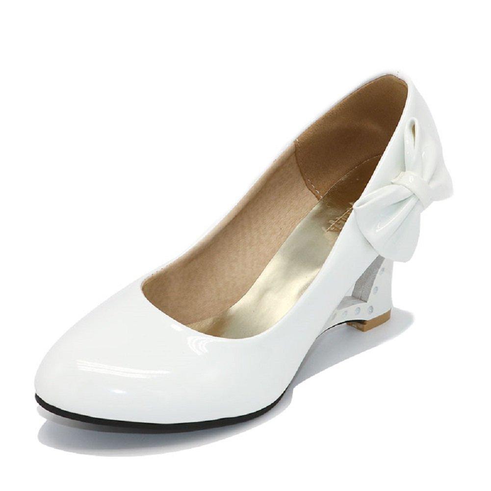 Pumps 5 Farben Weiß Creme Pink Schwarz Gelb Keil Hochzeit High Heels Schuhe Brautschuhe Braut Damenschuhe  39 wie (38)|Wei?
