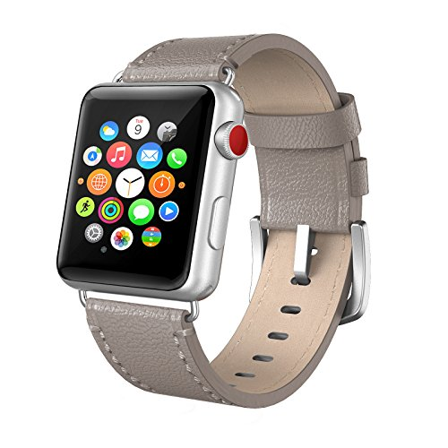 Apple Watch Band 38mm Leather, Swees iWatch Genuine Leather Bands Replacement Strap with Stainless Steel Buckle for Apple Watch Series 3 , Series 2, Series 1, Sports & Edition Women Men, Grey