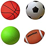 AppleRound Pack of 4 Sports Balls with 1 Pump: 1 Each of 5' Soccer Ball, 5' Basketball, 5' Playground Ball, and 6.5' Football (1-Pack, 4 Balls+1 Pump)