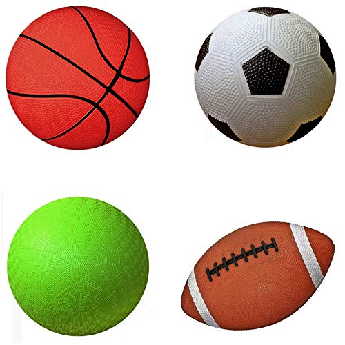 AppleRound Pack of 4 Sports Balls with 1 Pump: 1 Each of 5