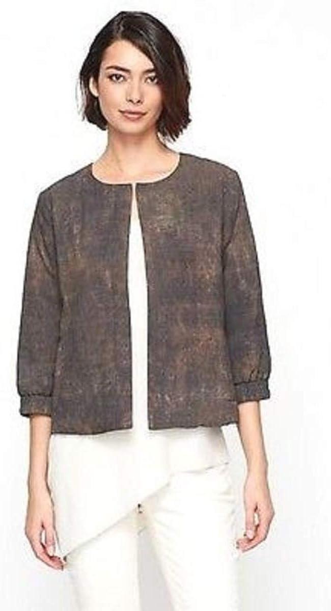 Eileen Fisher Viscose Nylon Black Jacket Leather Trim 3X MSRP $498.00