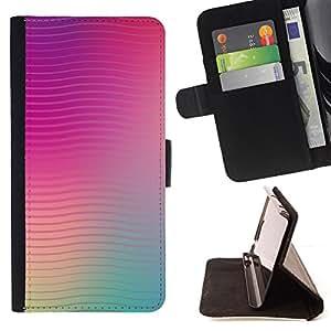 BullDog Case - FOR/LG Nexus 5 D820 D821 / - / lines waves purple teal peach blurry /- Monedero de cuero de la PU Llevar cubierta de la caja con el ID Credit Card Slots Flip funda de cuer