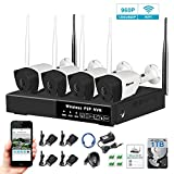 4 Channel 1080P WiFi NVR Kits 1TB HDD 4 x 960P IP Bullet Wireless Cameras Indoor/Outdoor Home Security Video Surveillance System Night Vision Waterproof for Office Warehouse Barn Yard Garden Basement