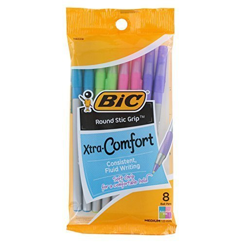 BIC Round Stic Grip Xtra Comfort Fashion Ballpoint Pens, Assorted Fashion Colors, Pack of 8