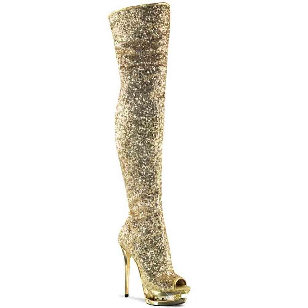 Pleaser BLONDIE-R-3011 Women Open Toe Thigh Boot B00IA5ZC8W 6 B(M) US|Gold Sequins/Gold Chrome