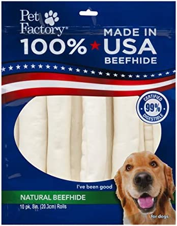 PET FACTORY USA Value-Pack Beefhide 8-Inch Retriever Rolls Chews for Dogs, 10-Pack Package may Vary