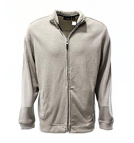 Tasso Elba Mocha Heather Mens Small Full Zip French Rib Sweater Beige S