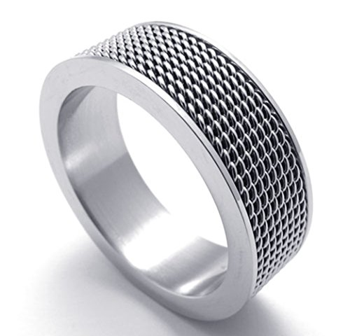 TEMEGO Jewelry Mens Stainless Steel Ring, Woven Mesh Band, (Band Mesh Ring)