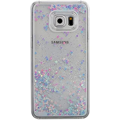 IKASEFU Hard Clear Case for Samsung Galaxy S7 Edge,Novelty Creative[Glitter Flowing Hearts]Clear Liquid Floating Luxury Bling Hard Transparent Case Cover for Sales