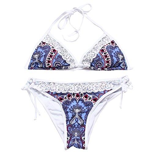 KUWOMINI.Fashion Europa Bikini Encajes Chica Traje De Baño Traje De Baño Lindo De La Playa Del Bikini Purple