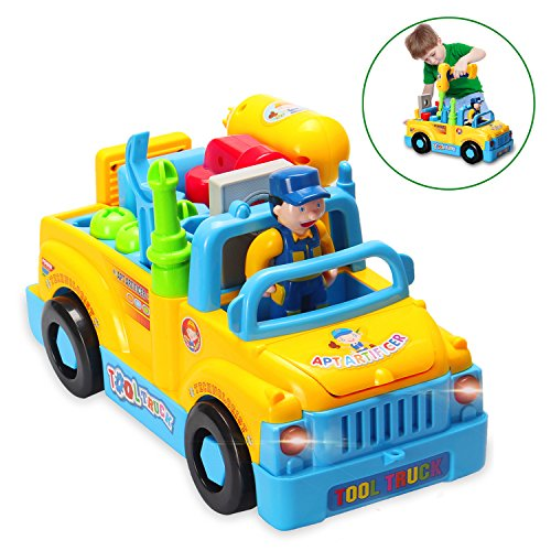 HOMOFY Baby Toys Multifunctional Construction Take Apart Toy - Toy Tool Trucks for Kids Toys Age 3+ with Electric Drill and Power Tools for Assembling,Music & Lights,Bump and Go!