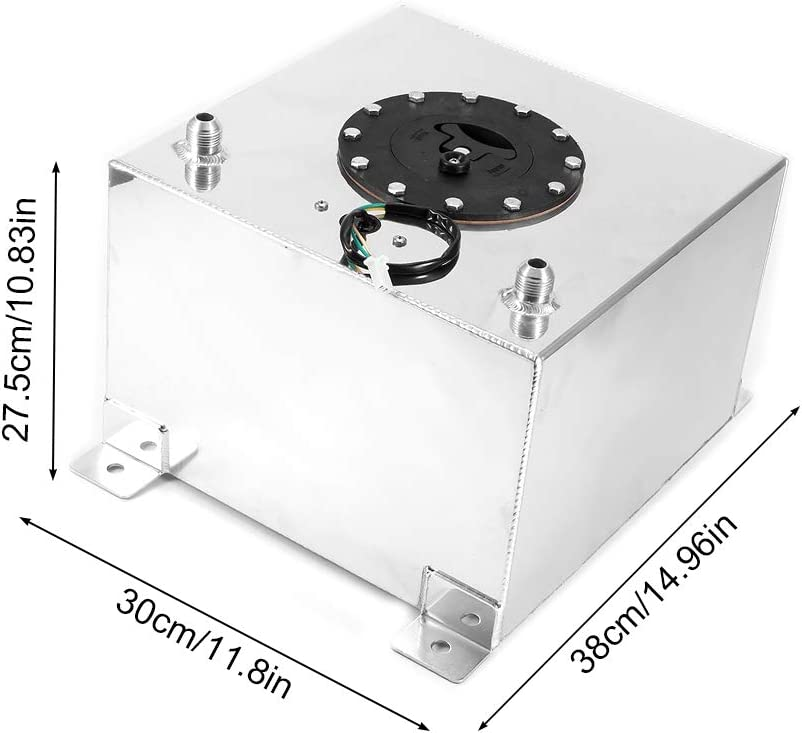 White 5 Gallon 20L Glossy Aluminum Alloy Fuel Cell Gas Tank with Level Sender Replacement