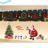 LOHOME(TM) Large Christmas Wall Decals Stickers with Christmas Tree, Santa Claus, Stockings and Gifts for Shop Window Living Room Bedroom Wall Decoration