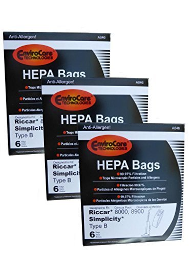 18 bags (3 pkgs) Type B HEPA Allergy Bags For Riccar 8000 8900, Simplicty 7 & 7000 Series and Belvedere Upright Vacuum Cleaners by EnviroCare ()