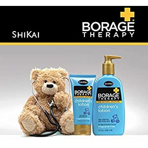 ShiKai - Borage Therapy Children's Lotion, A Safe Plant-Based Alternative For Dry Skin, Effective for Cradle Cap, Eczema & Itchy Skin, Non-Greasy, For Ages 6 Months & Up (Fragrance-Free, 8 Ounces)