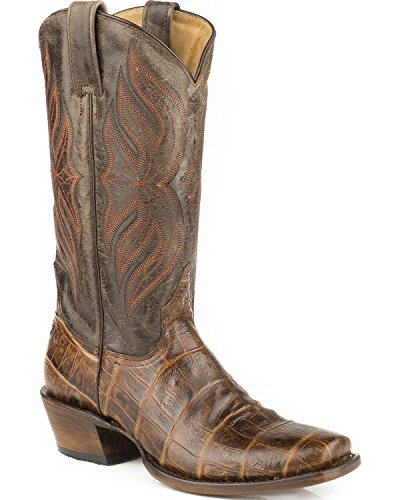Roper Mens Faux Croc Belly Print Cowboy Boot Square Toe - 09-020-7124-0721 BR Brown B6XDk4i1