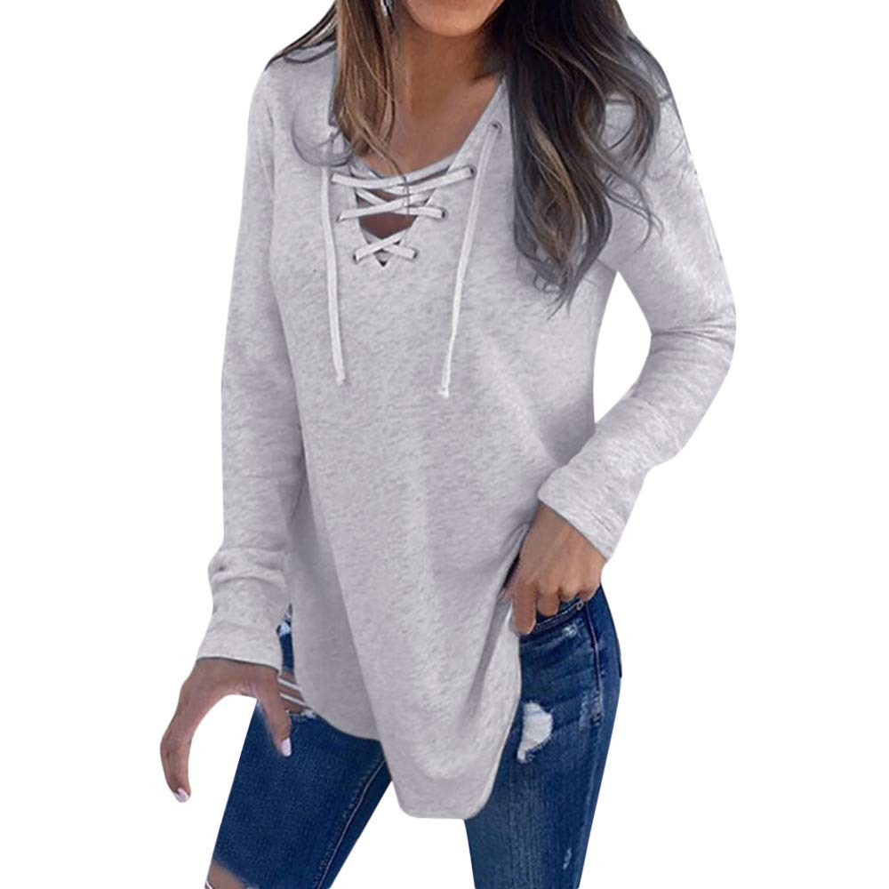 Ximandi Womens Casual V Neck Strap Neck Long Sleeve T-Shirt Loose Top Blouse