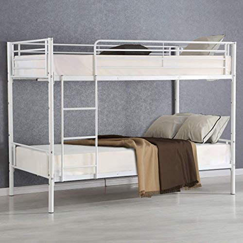 Costzon Twin Over Twin Metal Bed, Metal Bunk Bed Frame with Ladders, White