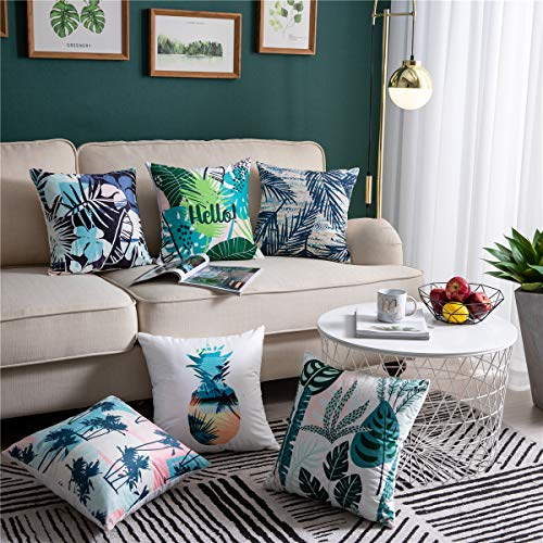 DEZENE 6 Pack Decorative Throw Pillow Covers for Sofa Couch Bed, Super Soft Velvet Tropical Plants Cushion Covers Square Pillow-Cases, 18 x 18 Inch