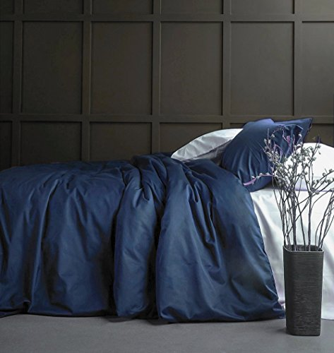 Solid Color Egyptian Cotton Duvet Cover Luxury Bedding Set High Thread Count Long Staple Sateen Weave Silky Soft Breathable Pima Quality Bed Linen (Queen, Navy Blue)