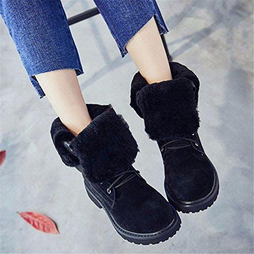 HXVU56546 Künstliche Pelz Stiefel Frauen Winter Neue Martin Stiefel Wild Dick Plus Samt Stiefel Stiefel Schuhe, 39 Sand Farbe black