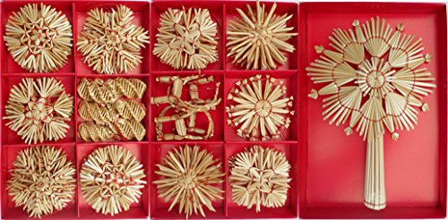 68 Straw Ornaments, Christmas Tree Decoration - Set B