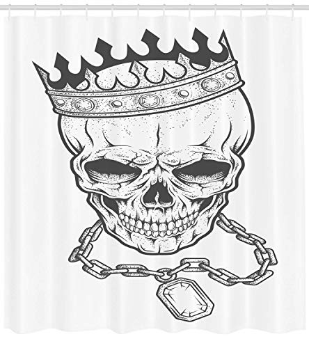 King Shower Curtain Sketchy Skull with Crown Hip Hop Street Style Necklace Chain Gem Image Print Fabric Bathroom Decor Set with Hooks Extra Long Charcoal White 60