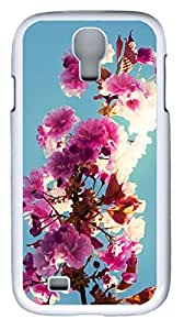 samsung galaxy s4 case,custom samsung galaxy s4 i9500 case,TPU Material,Drop Protection,Shock Absorbent,Customize your own cell phone case pattern,white case, Flowers under the blue sky
