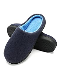 FLY HAWK Men's Memory Foam Plush House Slippers Two-Tone Slip On Indoor/Outdoor Shoes