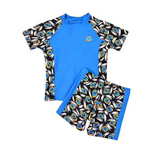 Little Boys Swimsuits Rash Guard Shirts Shorts Swimming Sun Protection Blue 11-12 Years