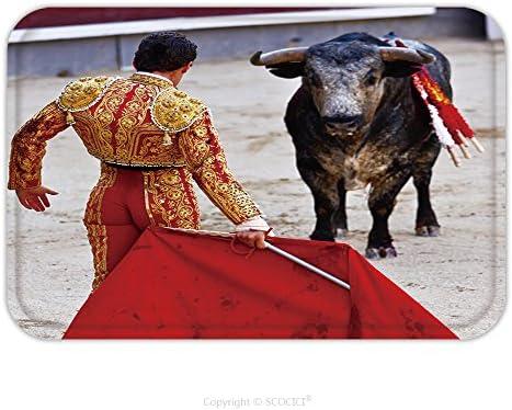 Franela de microfibra antideslizante suela de goma suave absorbente Felpudo alfombra alfombra alfombra tradicional corrida toros en España bulfighting ha sido prohibidos en Catalunia desde 155341151 para interior/OUTDO: Amazon.es: Jardín