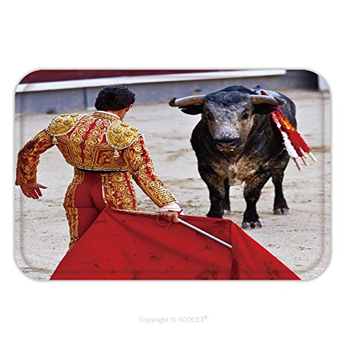 Flannel Microfiber Non-slip Rubber Backing Soft Absorbent Doormat Mat Rug Carpet Traditional Corrida Bullfighting In Spain Bulfighting Has Been Prohibited In Catalunia Since 155341151 for Indoor/Outdo