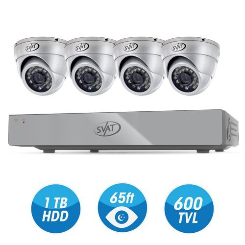 SVAT 4CH Smart Security System with 1 TBDVR & 4 Indoor/Outdoor Dome Cameras with 600TVL and 65' Night Vision