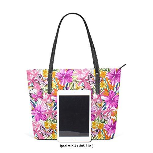 Tropicales Fleurs À Femmes Les Main Pu Cuir Muticolour Coosun Et tout Moyen Sac Pour Épaule Feuilles Papillons En Fourre 4Haq5Ew