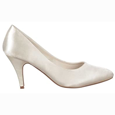 Ladies Womens Bridesmaid Low Kitten Heel Bridal Wedding Shoes ...