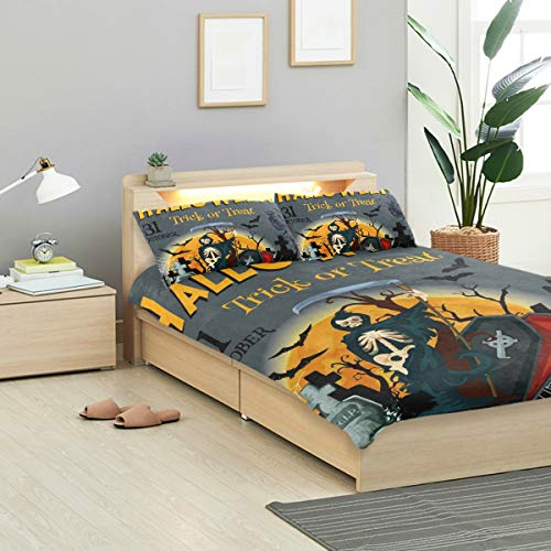 (KVMV Halloween Trick Treat Party Poster Invitation Duvet Cover Set Design Bedding Decoration Queen/Full 3 PC Sets 1 Duvets Covers with 2 Pillowcase Microfiber Bedding Set Bedroom )