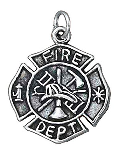 - Sterling Silver Firefighters Fireman's Medal Charm